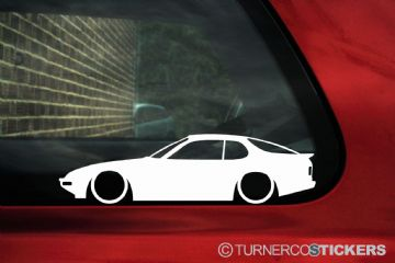 2X Lowered Porsche 924 classic Low car outline STICKERS decal